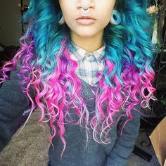 One of our favorite promoters rocking arctic fox hair dye, opalite tunnels and stainless steel septum clicker! Best Hair Dye, Dye My Hair, Hair Dye Colors, Cool Hair Color, Funky Hairstyles, Rainbow Hairstyles, Semi Permanent Hair Dye, Arctic Fox Hair Color, Coloured Hair