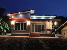 House Blueprint with Superb Exterior Render - Ulric Home 2 Bedroom House Design, Bungalow House Design, Home Room Design, Dream Home Design, My House Plans, Small House Plans, House Floor Plans, Indian House Exterior Design, Farmhouse Layout
