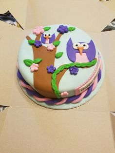 Pink and Purple Owl Cake Purple Owl, Pink, Fondant Cakes, Desserts, Food, Tailgate Desserts, Deserts, Essen, Postres