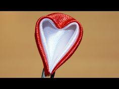 """▶ Базовые лепестки Канзаши #44 """"Лепесток сердце"""" / Kanzashi - YouTube"""