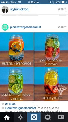 4 REAL vitamin water to help with detox, hydration and energy Infused Water Recipes, Fruit Infused Water, Fruit Water, Infused Waters, Flavored Waters, Water Detox Recipes, Fresh Fruit, Healthy Water, Healthy Drinks