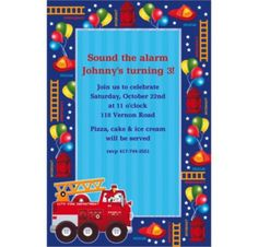 Custom Fire Engine Fun Invitations - Party City