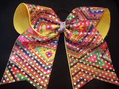 Yellow Multi Colored Cheer Bow with Holograpic Dots, Custom Cheer Bow, Big Cheer bow by PizazzBows on Etsy https://www.etsy.com/listing/179766303/yellow-multi-colored-cheer-bow-with