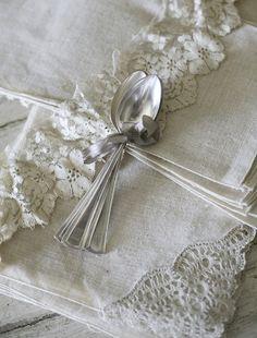 Ana Rosa in Cream Vintage Lace, Vintage Silver, Antique Silver, Vintage Accessoires, Fresh Farmhouse, Farmhouse Table, Linens And Lace, White Linens, White Cottage