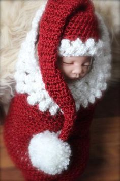Newborn baby girl or newborn baby boy Christmas cocoon and santa hat, handmade, crocheted by bjmphotography