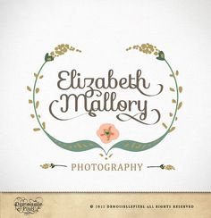 Vintage Logo Custom Hand Drawn Calligraphy Swirl Text Flowers for photographer and boutique