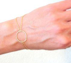 Gold Bracelet, Infinity bracelet, Eternity Circle, circle bracelet - Thin and feminine, Minimalist Jewelry, everyday jewelry. $24.00, via Etsy.