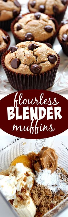 Flourless Peanut Butter Blender Muffins Recipe - the best blender muffins ever! Soft, fluffy and delicious! Make these muffins in just minutes right in your blender!