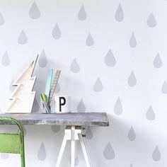 Raindrops Wallpaper Silver