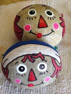 Raggedy Ann and Andy Painted Rocks