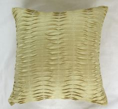 STOCK CLEARANCE 20% OFF-Light yellow  silk pintuck cushion cover 16 inch decorative throw pillow cover