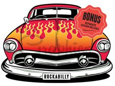 rockabilly-hotrod- car-with-flames