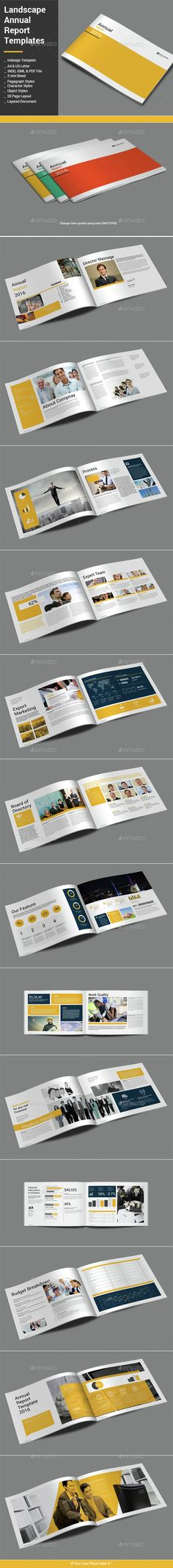 Landscape Annual Report Template InDesign INDD. Download here: http://graphicriver.net/item/landscape-annual-report-template/14998611?ref=ksioks