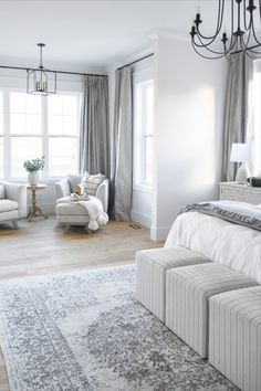 This stunning gray traditional bedroom features Ash Organic Cotton Drapery from Barn & Willow. Custom Windows, Window Coverings, Drapery, Organic Cotton, Master Bedroom, New Homes, Kids Rugs, Bedroom Inspiration, Ash