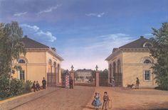Darmstadt, Frankfurter Tor mit Blick zum Mathildenplatz