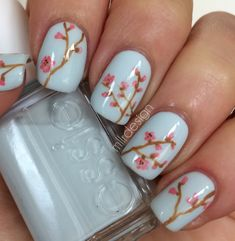 Soft Spring Flowers ~ using Essie 'Find me an oasis' as base polish and acrylic paints for the flowers. ~ by Mllr Design
