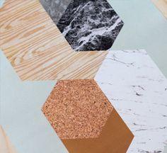 Materials in Hexagons / Mint / Print