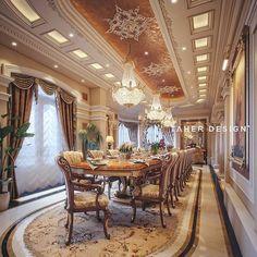 Formal Oriental Majlis by Taher Design Studio for a villa in Abu Dhabi, Taher Design Studio. All Rights Reserved . Luxury Dining Room, Dining Room Design, Interior Design Living Room, Interior Decorating, Luxury Decor, Luxury Interior Design, Classic Interior, Ceiling Design, Luxury Homes