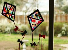 """Colorful Stained Glass Kites - Make and Takes. Thinking about having this be my first lesson plan for my group. My letter is """"K"""". glass crafts for kids Colorful Stained Glass Kites Window Display Summer Crafts For Toddlers, Easy Paper Crafts, Paper Crafts For Kids, Toddler Crafts, Projects For Kids, Crafts To Make, Art For Kids, Art Projects, Arts And Crafts"""