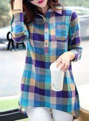 Casual cuello de la camisa de manga larga a cuadros lino blusa para las mujeres