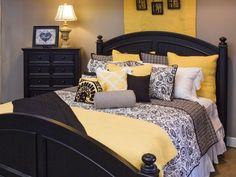 yellow & gray bedroom