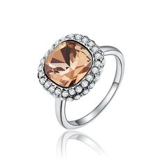 OBABY New Arriva Fashion Christmas Jewelry.Big Square Champagne Crystals Rings for Women Party Wedding gift.