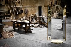 Portal Contemporary Full Length Floor Mirror in Polished Brass and Leather For Sale at Portal Mirror, October Gallery, Full Length Floor Mirror, Triptych, Polished Brass, The Outsiders, Upholstery, Contemporary, Leather