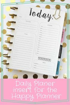 Daily Planer insert for the Happy Planner. Print out this daily sheet and use the MAMBI punch to add it to your planner!