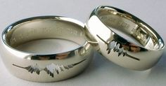 """34 Unconventional Wedding Band Options For Men - it has the """"I Do"""" sound waves recorded from the ceremony Engraved Wedding Rings, Unusual Wedding Rings, Geek Wedding Rings, Male Wedding Bands, Matching Wedding Bands, Wedding Men, Wedding Engagement, Wedding Vows, Gold Wedding"""