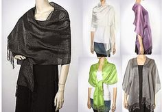 Designer shawl collections at Yours Elegantly - beautiful, wide choice of 300 shades of colors and affordable elegance! Women love light sheer shiny spring summer evening shawls.