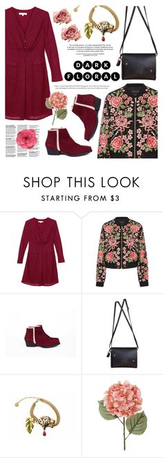 """In Bloom: Dark Florals"" by kreateurs ❤ liked on Polyvore featuring Needle & Thread, contestentry, darkflorals and kreateurs"