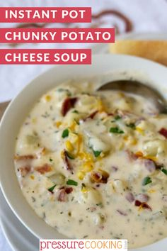 Potato Cheese Soup loaded with chunky potatoes, bacon, corn and two kinds of cheese. A hearty potato soup recipe ready in just minutes in a pressure cooker / Instant Pot. Get the easy potato soup recipe here! Potato Soup Pressure Cooker, Pressure Cook Potatoes, How To Cook Potatoes, Instant Pot Pressure Cooker, Pressure Cooker Recipes, Hearty Potato Soup Recipe, Potato Cheese Soups, Classic Chili Recipe, Pressure Cooking Today
