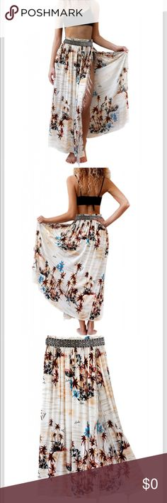 63cb8602c5 Beachy Print Maxi Skirt Summer print maxi skirt with side split trimmed  with tassels. The