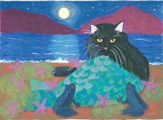 Hey, I found this really awesome Etsy listing at https://www.etsy.com/listing/56143049/black-cat-mermaid-greeting-card