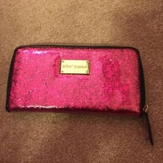 Betsey Johnson wallet Pink sparkly wallet! In perfect condition Betsey Johnson Bags Wallets