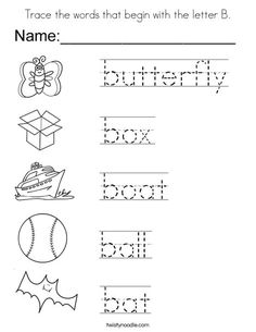 Trace The Words That Begin With Letter B Coloring Page