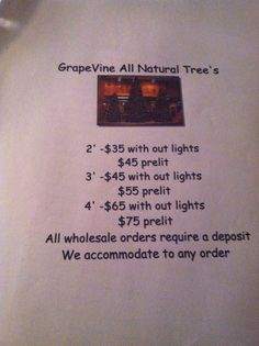 Creative Connections & Events Grapevine Tree  Prices