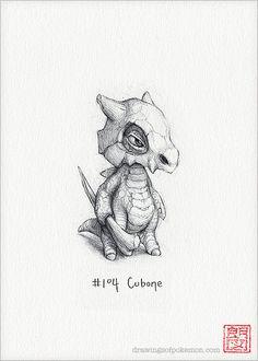 Cubone 5 x 7 print pokemon drawing art artwork by RockyHammerEtsy