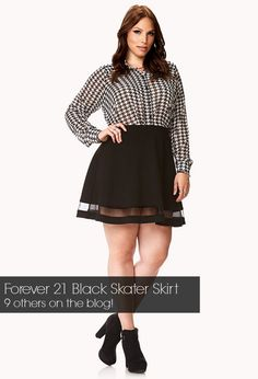 This is quite playful- this plus size skater skirt. I would def add tights! See the 9 others on the blog- the Curvy Fashionista