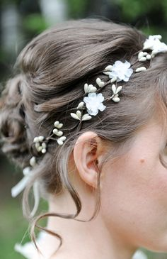 Bridal floral crown, Wedding hair accessories, Ivory flower hair wreath, Bridal headpiece, White bridal head piece, Flower girl etsy