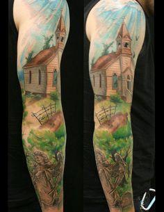 Church cemetery angel christian sleeve tattoo by Jackie Rabbit Christian Sleeve Tattoo, Christian Tattoos, City Tattoo, Epic Tattoo, Cemetery Angels, Rabbit Tattoos, Full Sleeve Tattoos, Custom Tattoo, Body Art Tattoos
