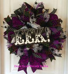 Halloween Wreath, Trick or Treat Wreath, Fall Wreath, Autumn Wreath, Spider Wreath, Eek Wreath, Halloween Deco Mesh, Halloween Paper Mesh by DecoMeshWreathWorks on Etsy
