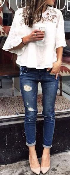 -STITCH FIX TRENDS! Try the best clothing subscription box ever! Resort wear, White shift dress, fashion and outfit Inspiration photos for stitch fix. Only $20! Sign up now! #StitchFix #Sponsored - cream lace top. distressed denim