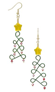 Quick Jewelry-Making Design: Christmas Trees in a Twist or wire  Colorful Zebra Wire is turned into darling Christmas trees with a few simple loops , some Swarovski bicones and a glass star bead.