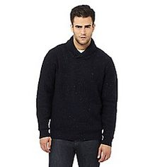 John Rocha - Navy textured shawl sweater with wool Debenhams, Shawl, Dan, Men Sweater, Wool, Sweaters, Shopping, Clothes, Fashion