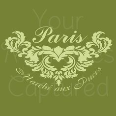 Marche aux Puces (Flea Market) French Shabby Chic Reusable Stencil - for fabric, wood, paper, canvas, walls - 8x5