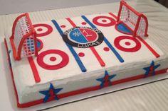 Hockey/Ice Rink Themed Birthday Cake