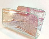 Aqua Fused Glass Business Card Holder Dichroic Glass with Pink Shift Color Graduation Gift 443