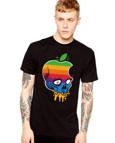 63ea9f593007 Personalized apple skull t shirt short sleeve for men · Mens SleeveKinds Of  ClothesSummer ...