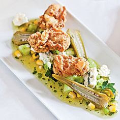 Fried Oysters with Green Tomato, Sweet Corn, and Blue Cheese ...